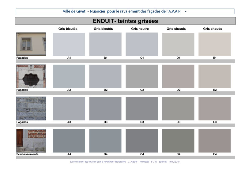 Awesome palette de couleur gris 5 la palette des enduits for Nuancier couleur facade